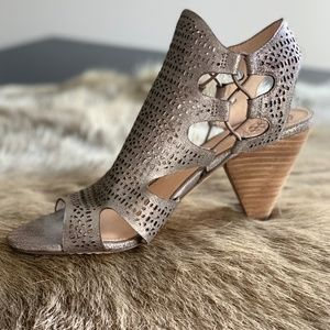 Vince Camuto Pewter and Wood Block Heel